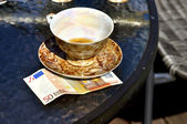 Cup of tea and tips — Stock Photo