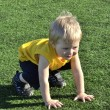 Young boy or kid plays soccer or football sports for exercise an — Stock Photo #11074243