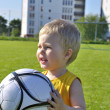 Young boy or kid plays soccer or football sports for exercise an — Stock Photo #11074363