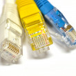 Stock Photo: Grey, blue, yellow internet cables