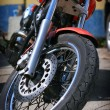 Front wheel of the motorcycle — Stock Photo #11967179