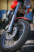 Front wheel of the motorcycle — Stock Photo