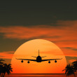 Airplane flying at sunset over the tropical land with palm trees — Stock Photo #10783637
