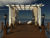 Romantic wedding gazebo with wooden pergola at the pier on the sea. paradise place to relax with a lounge area — Stock Photo