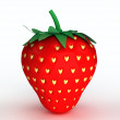 Concept illustration of love. Strawberry with seeds in the form of hearts — Stock Photo