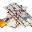 Money dollars and euro chained in a chain. — Stock Photo