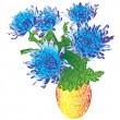 Blue asters in vase raster — Stock Photo #11853976