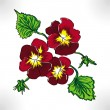 Raster drawing three flowers pansy — Stock Photo