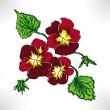 Raster drawing three flowers pansy — Stock Photo