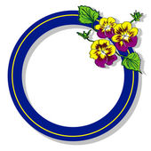Blue round frame with flower pansy raster — Stock Photo