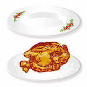 Raster drawing two white plates with roasted hen — Stock Photo