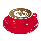 Red cup coffee, insulated on white background raster — Stock Photo