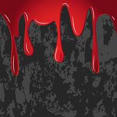 Rojo goteaba sobre pared gris sucia trama — Foto de Stock