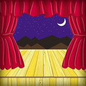 Raster drawing theatrical scene with red curtain — Stock Photo
