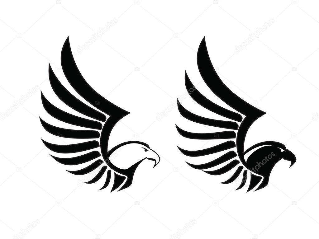 Eagle hawk falcon sing black and white vector bird stock