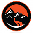 Mountain peaks, river, in circle,logo,icon,sign,vector - Stock Vector