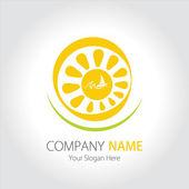 Company (Business) Logo Design, Sun, Sea and Sailing Ship — Stock Vector