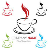 Company (Business) Logo Design, Vector, Cup of Coffee — Stock Vector