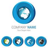 Company (Business) Logo Design, Vector, Circle, Earth — Stock Vector