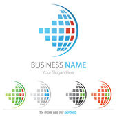 Company (Business) Logo Design, Vector, Circle, Cubes, Globe — Vecteur
