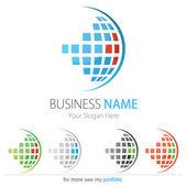 Company (Business) Logo Design, Vector, Circle, Cubes, Globe — Stock Vector