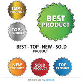 Labels - New, Top, Sold, Best Product - Vector — Stock Vector