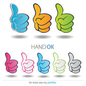 OK Hand - All Right, Vector, Sign, Symbol, Icon — Stock Vector