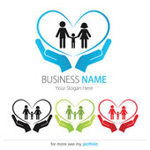 Company (Business) Logo Design, Vector, Heart, Peoples, Family — Stock Vector