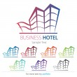 Company (Business) Logo Design, Vector, Hotel, House, Building - Stock Vector