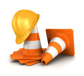 3d traffic cones and a safety helmet — Stock Photo