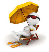 3d white in vacation — Stock Photo