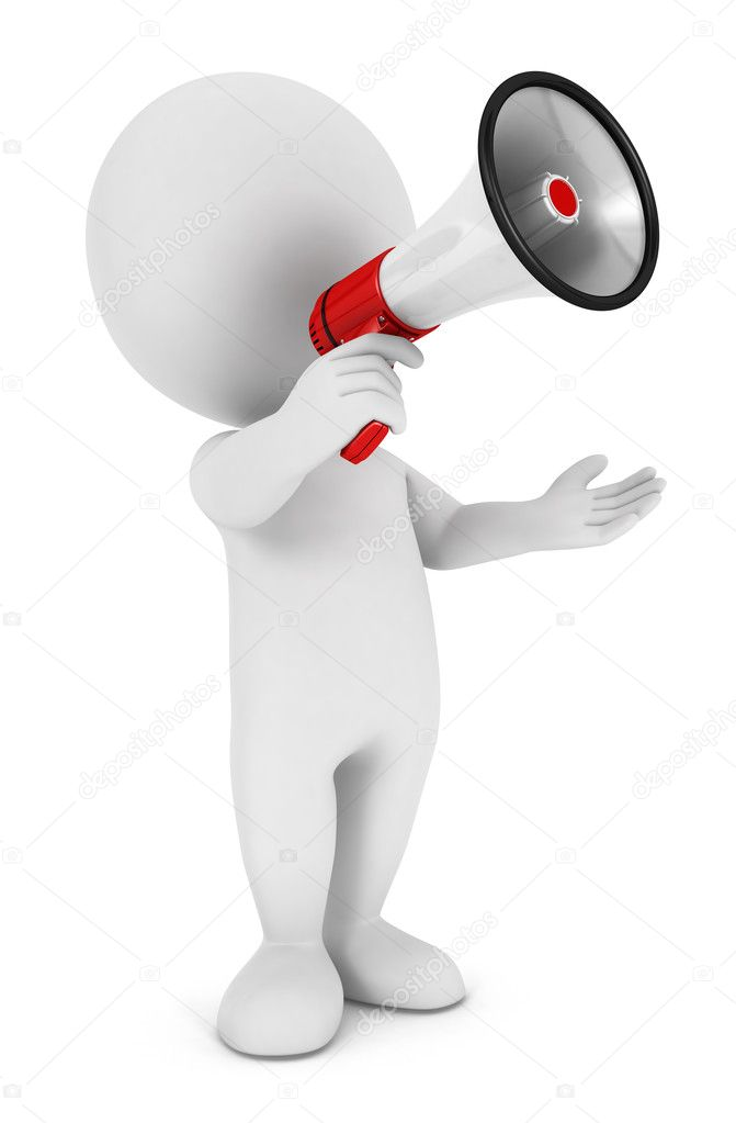 3d white with a megaphone, isolated white background, 3d image  Stock Photo #11140835