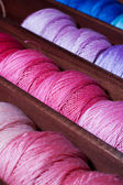 Pink and blue threads — Stock Photo
