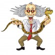Funny Scientist Holding Snake — Stockvectorbeeld