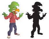 Papegoja maskot och siluett — Stockvektor