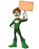 Gröna super boy hjälte — Stockvektor