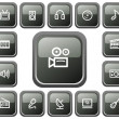 Stock Vector: Multimedibuttons