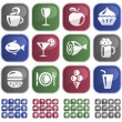 Food and drink buttons - Stock Vector