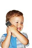 Boy talking mobile — Stock Photo