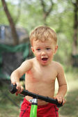 Boy on the bicycle — Stock Photo