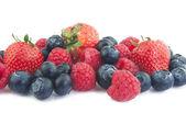Blueberries, raspberries and strawberries — Stock Photo