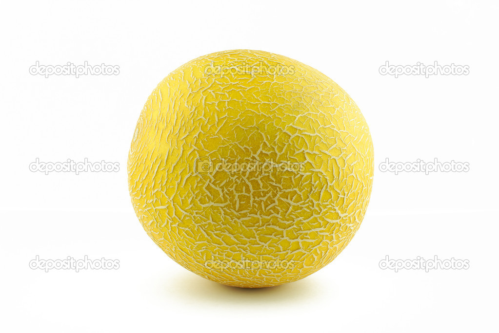 Juicy yellow melon cantaloupe on white background  Stock Photo #10904402