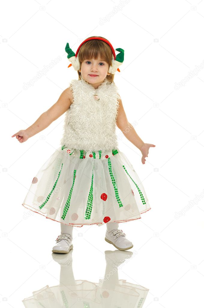 Little girl in festive attire on white background — Stock Photo #10817174