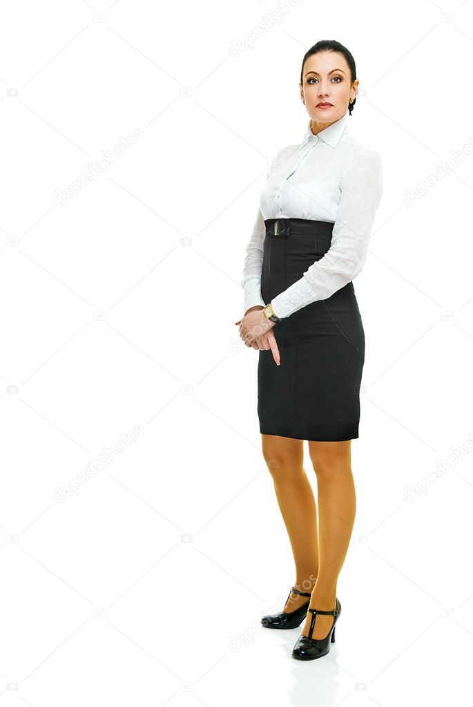 Charming business lady in full height on white  Stock Photo #10977165
