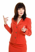 Young pretty explaining business woman on white — Stock Photo