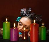 Relaxing magic woman — Stock Photo