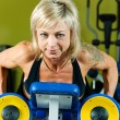 Exersice with dumbbells - Stock Photo