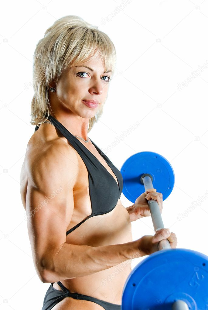 Young pretty bodybuilder with weight on white — Stock Photo #11347215