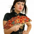 Woman with fan — Stock Photo