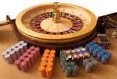 Gold roulette wheel — Stock Photo